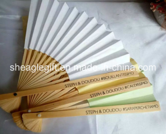 Paper Bamboo Blank Hand Fans with Rib Silk Screen Printing pictures & photos