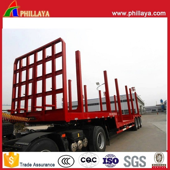 High Bed Flatbed Timber Transport Semi Trailer with Side Posts pictures & photos