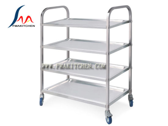 China Stainless Steel 4 Layers Dining Cart Round Tube Or Square