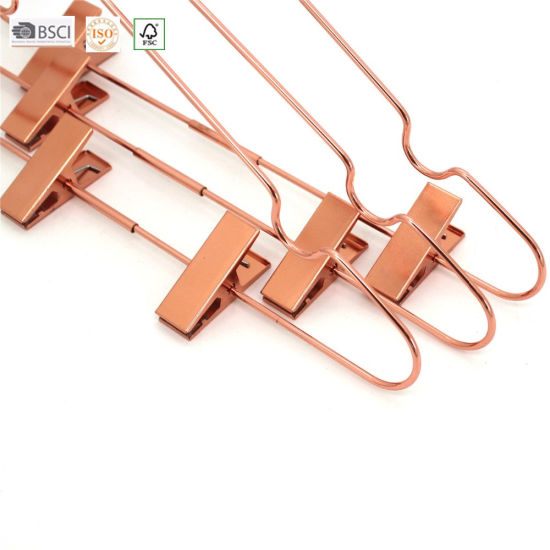 China Rose Gold Drying Metal Wire Clothes Hanger with Clips, Metal ...