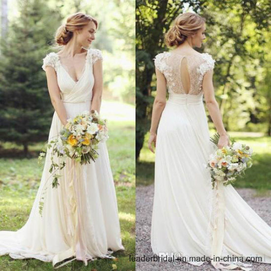 China Lace Bridal Gown Cap Sleeves Simple Beach Wedding Dress Real