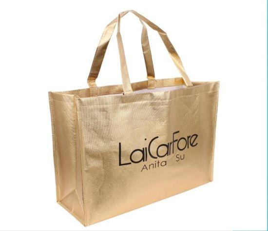 Printing Nonwoven Polish Gold Lamination Woven Shopping Bag