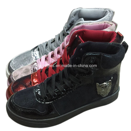 Newest Women Injection PU Shoes High-Cut Casual Shoes Footwear (YJ1219-2) pictures & photos