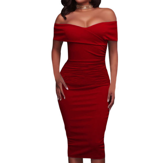 Fashion Women Ladies Red Ruched off Shoulder Prom Evening Dress