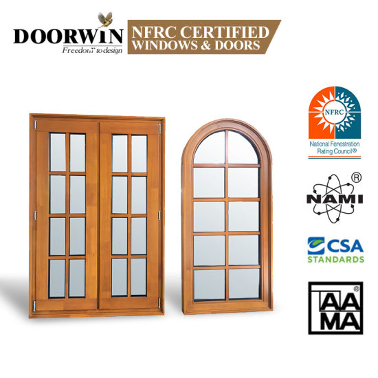 Latest Design Italia Standard Burglar Proof Designs Residential Arched Round-Top Casement Solid Pine and Larch Wood Window with Grill Design