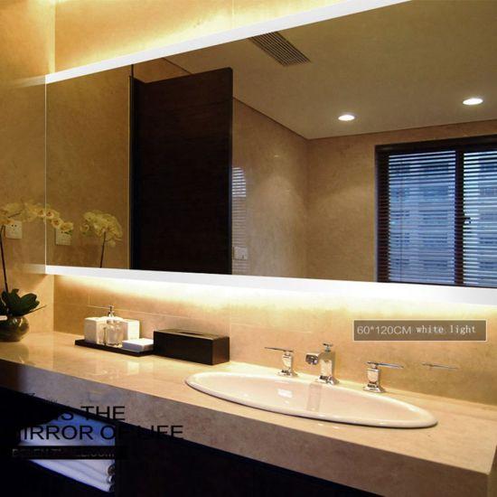 Anti Explosion Home Decor Bathroom Furniture LED Wall Silver Mirror