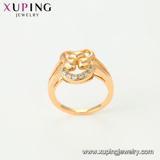11759 Xuping Fashion Luxury Women Zircon Heart-Shaped 18K Gold-Plated Jewelry Ring pictures & photos