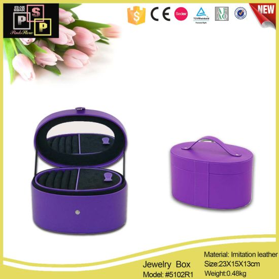 Arc-Shaped Purple Jewelry Case Box with Leather Handle (5102) pictures & photos