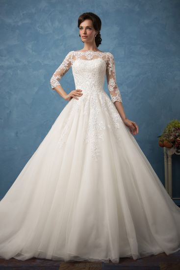 China Amelie Rocky Custom Made Lace 3/4 Sleeve Wedding Gowns Cheap ...