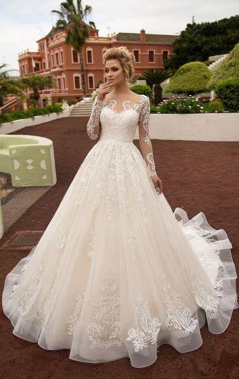 China Amelie Rocky Custom Made Champagne Lace Bridal Wedding Dress ...