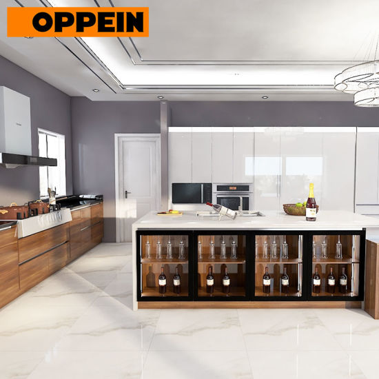 Pre-Assembled White Glossy Lacquer Full Kitchen Cabinet Set with Island