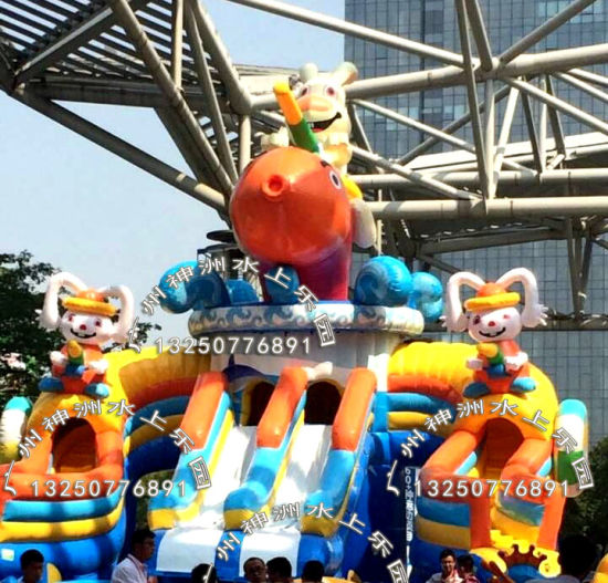 china inflatable big pool slide inflatable water game double slide