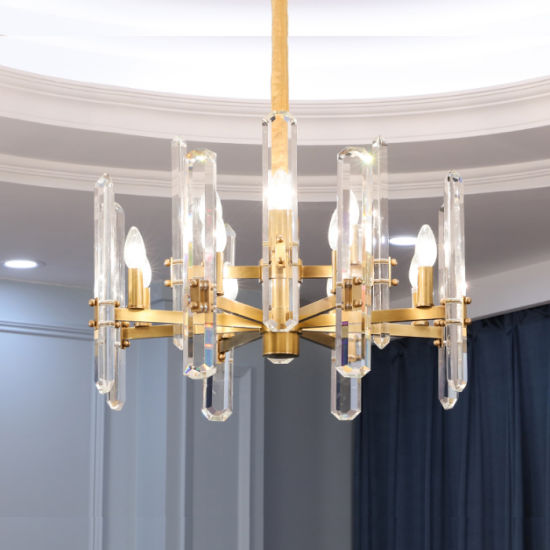 Two Layers Simple Crystal Brass Chandelier, Fit for Hotel Lobby