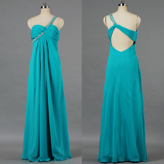 Lady Split Front Chiffon One Shoulder Celebrity Gown E232