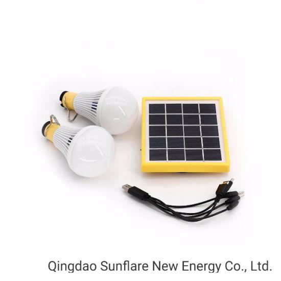 Green Energy LED Solar Power Lighting 2 LED Bulbs Lamp Lantern Light