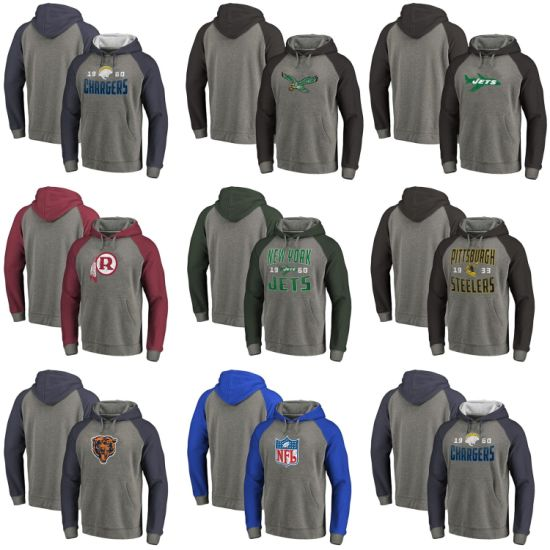 Chargers Timeless Collection Antique Stack Throwback Logo Tri-Blend Raglan Hoodies