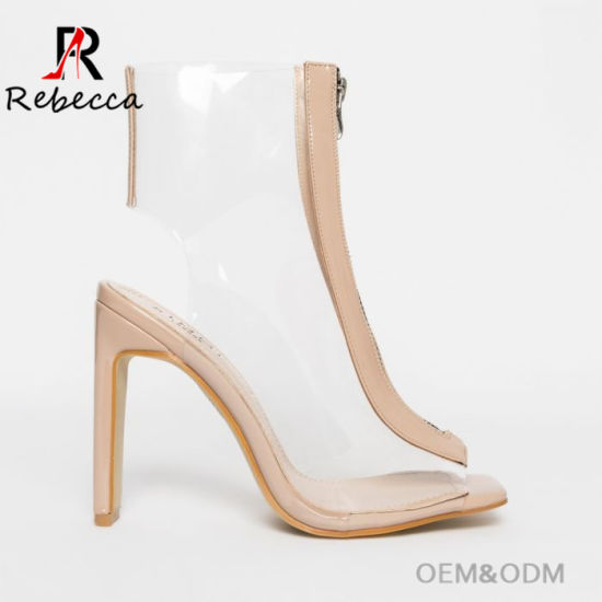 Women's PVC Heels Patent Nude Zip Boots From China Shoes Factory