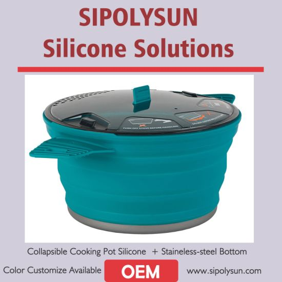 Collapsible Cooking Pot Made by Silicone & Stainless-Steel 1.4/2.8/4.0 Liter