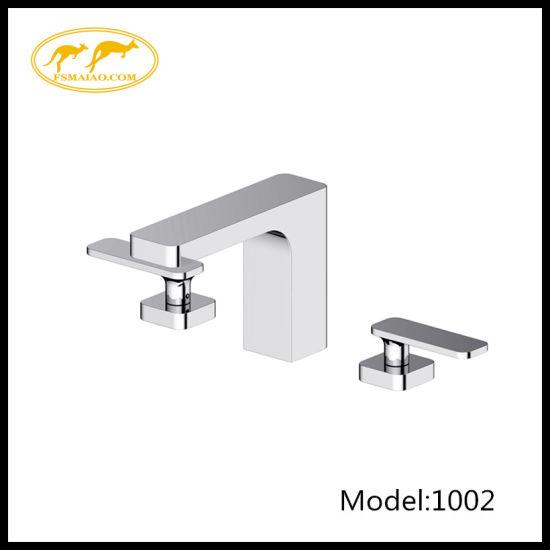 "Modern Bathroom 8"" Three Holes Square Brass Chrome Bath&Basin Mixer (1002)"
