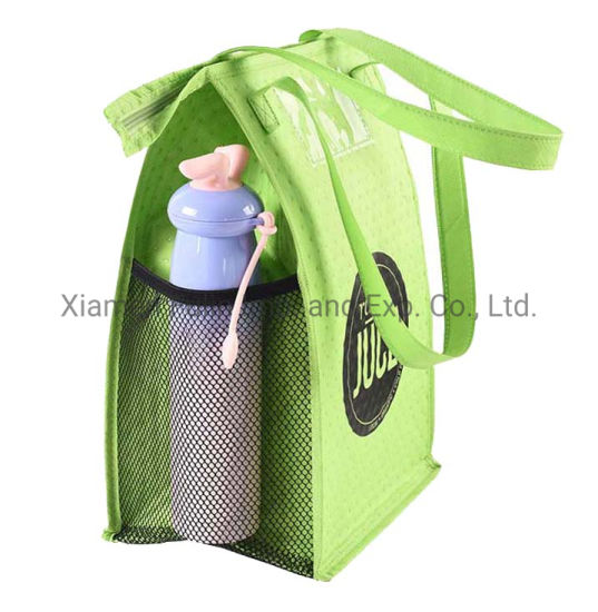Reusable Personalize Zip-Lock Durable Green Embossing PP-Non-Woven Cool Lunch Bag