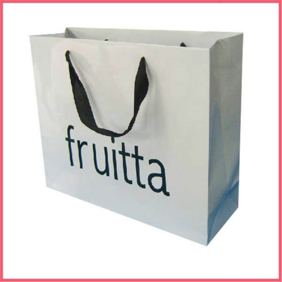Custom Printed Square Bottom Coated Paper Packaging Shopping Paper Bag