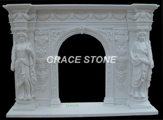 Hand Carved Marble Fireplace Mantel (GS-AF-002)