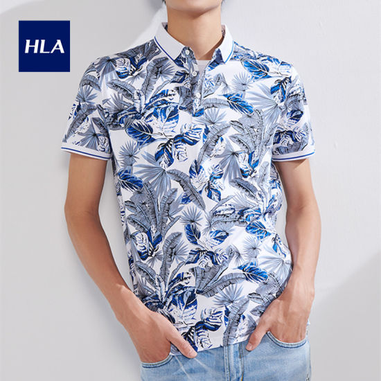 Hla Mercerized Floral Polo Shirt 2020 Summer New Product Smooth Breathable Short T Male