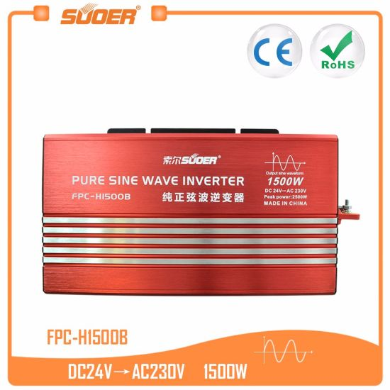China Suoer Solar Power System 24V 220V 1500W Pure Sine Wave