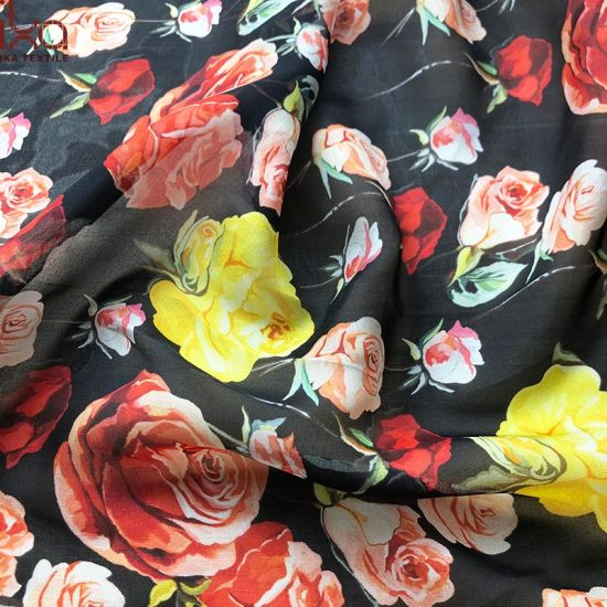 Digital Print Floral 100 Silk Material Silk Chiffon Fabric for Dress pictures & photos