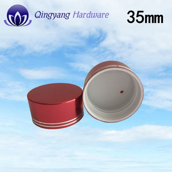 35mm Shiny Red Aluminum-Plastic Caps for Healthy Products pictures & photos