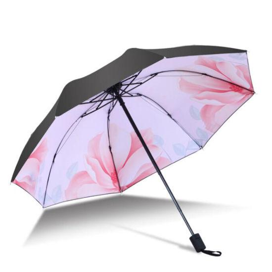 Black Coating Anti UV Folding Sun Umbrella with Printing