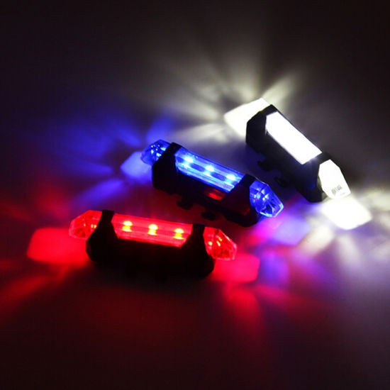 Red USB Rechargeable Bike Bicycle Tail Hot Warning Light NEW Rear Safety 5 LED