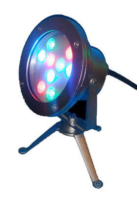 9W LED RGB Underwater Light, IP68, Waterproof
