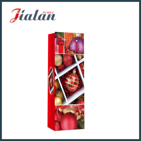 Factory Direct Christmas Wine Bottle Carrier Shopping Paper Gift Bags