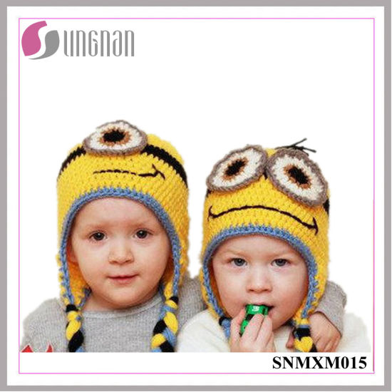 China Winter Creative Minions Hand Knit Wool Hat Children Ear Hat