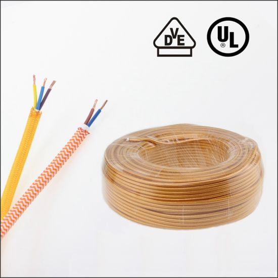 VDE UL 2 Core Vintage Textile Cable Fabric Braided Power Cords