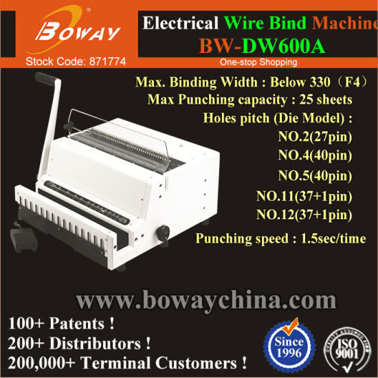 27 to 40 Holes Office Thin Paper Sheets Booklet Note Book Electric Wire Iron Binding Machine pictures & photos