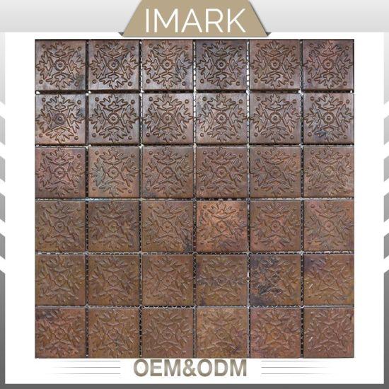 Luxury 3d Texture Kitchen Wall Backsplash Copper Mosaic Tile