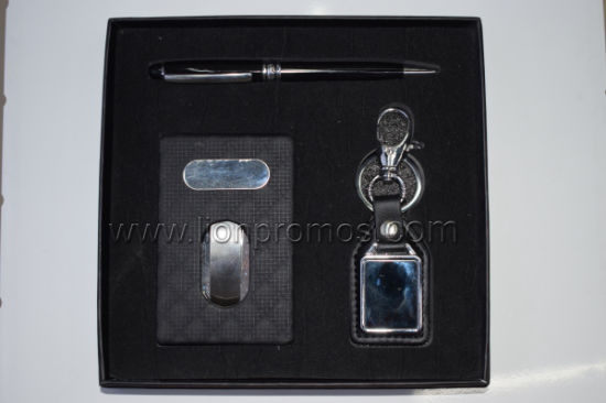 Popular Meeting Conference Business Gift Leather Card Box Keyring Metal Pen Gift Set