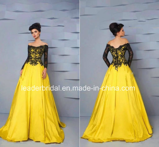 China Black Lace Formal Gowns Off Shoulder Yellow Vestidos Evening