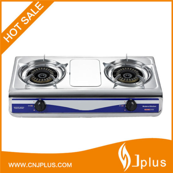 Jp-Gc207 Popular Table Top Portable Stainless Steel 2 Burner Gas Stove for Bangladesh