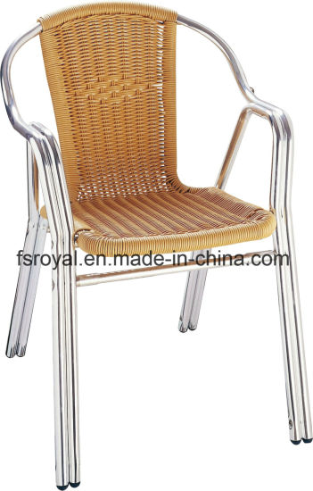 Commercial Outdoor Restaurant Chairs Aluminium Anodized Rattan Wicker Dining Chairs
