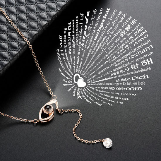 2a743c92d Valentine′s Gift 2019 Top Design Hot Sale Women Fashion Necklaces Jewelry  Accessories I Love You in 100 Languages Flower Projection Necklace