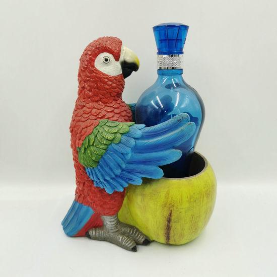 Resin Decoration Polyresin Parrot Animal Wine Bottle Holder