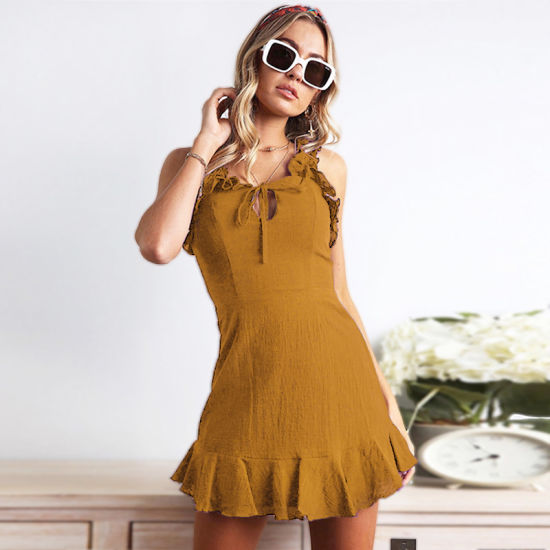 Amazon Hot-Sale New Models Spring Women Ruffled Sexy Sleeveless Dress pictures & photos