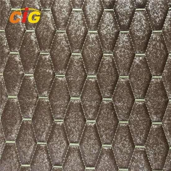 Anti-UV Anti-Stratch PVC Shiny Embroidery Leather with High Density Foam for Car pictures & photos
