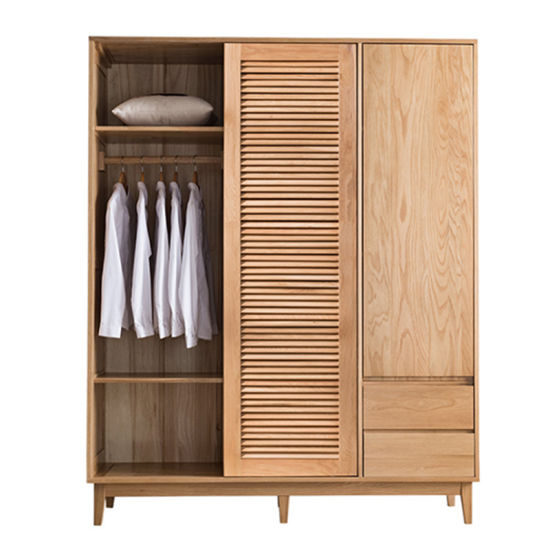 China Nordic Japanese Style Solid Wood Wardrobe Simple Bedroom Furniture White Oak Sliding Door Wardrobe Storage Cabinet Custom 0038 China Wardrobes Wooden Wardrobe