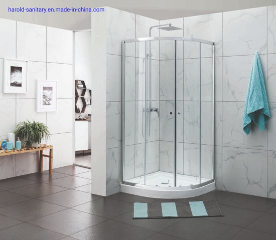 Economical Style Aluminium Frame Round Corner Entry Slider Shower Enclosure