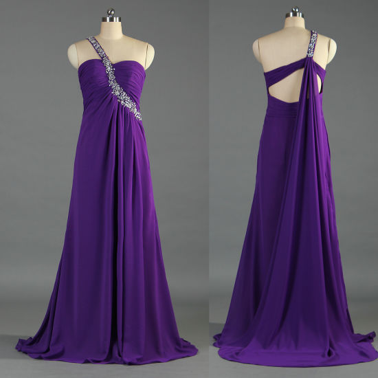 Sexy Bead One Shoulder Prom Dresses Long Purple Chiffon Gown for Women E100 pictures & photos