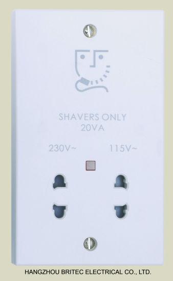 Dual Voltage Shaver Socket, with Neon